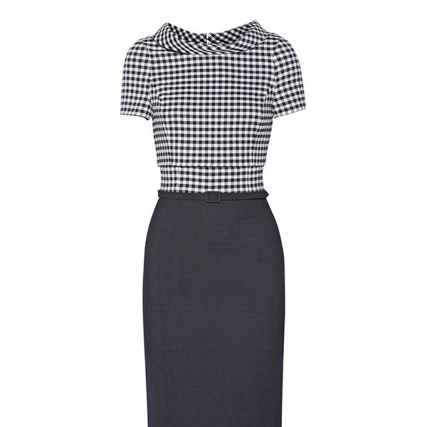 Oscar de la Renta Gingham Wool-Blend Dress