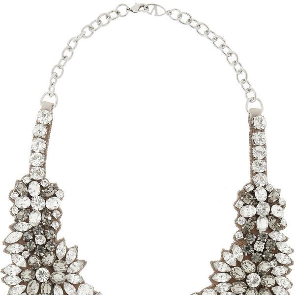 Valentino Romantic Flowers Crystal and Satin Bib Necklace
