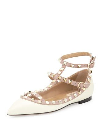 Valentino Rockstud Leather Caged Ballerina Flats