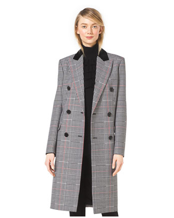 Michael Kors Plaid Double-Breasted Wool Coat
