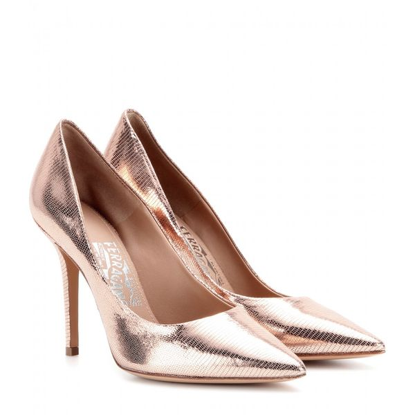 Salvatore Ferragamo Susi Metallic-Leather Pumps