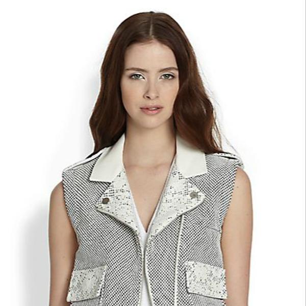 Rebecca Taylor Honeycomb Pattern Moto Vest