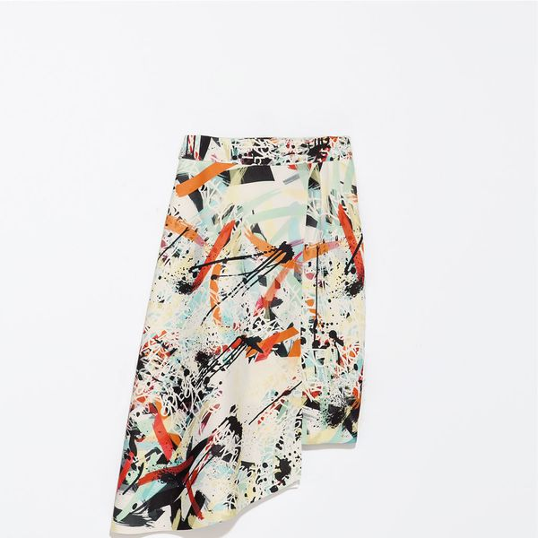 Zara Printed Asymmetric Skirt
