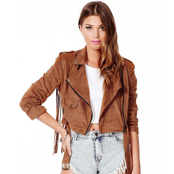 Missguided Diamanta Suede Biker Jacket With Tassels