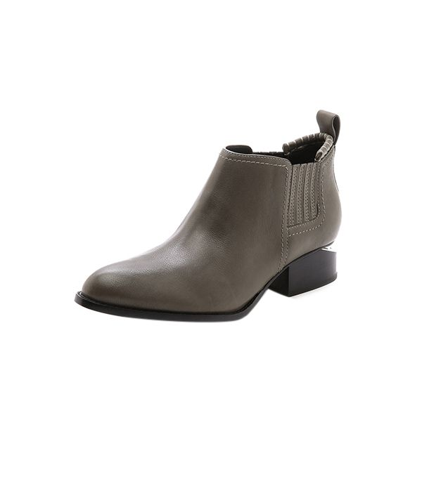 Alexander Wang Kori Ankle Booties with Rhodium Hardware ($495) in Gunpowder