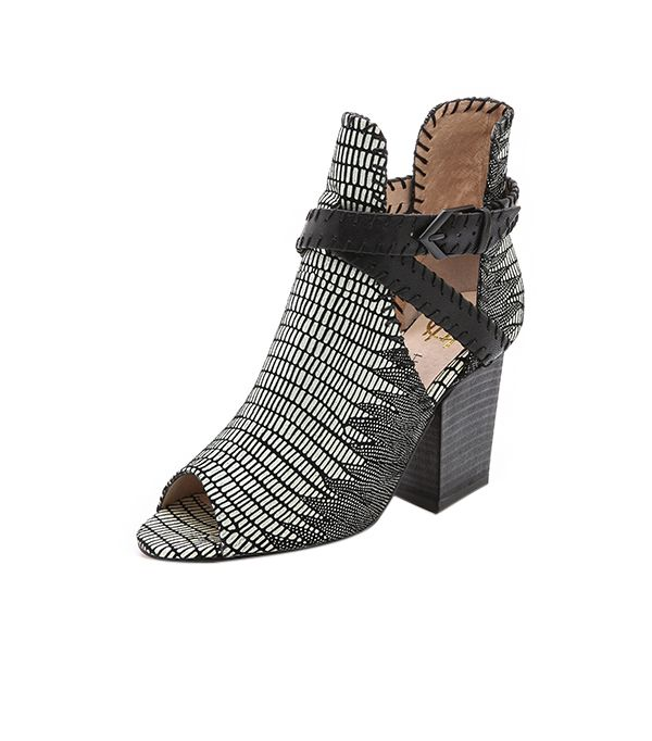 House of Harlow 1960 Open Toe Booties ($225) in Black/White