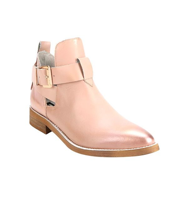 Miista Ona Cutout Pointy-Toed Ankle Boots ($250) in Pink