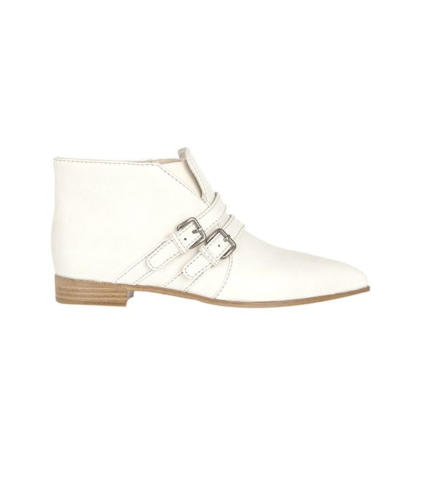 Miu Miu Double-Strap Leather Ankle Boots ($790) in Off-White