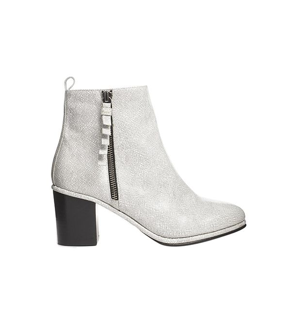 Opening Ceremony Shirley Zip Side Heeled Ankle Boots ($546) in White/Black