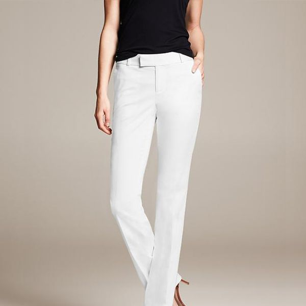 Banana Republic Martin Fit White Sateen Straight Leg Pants