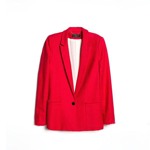 Mango Frayed Edge Blazer