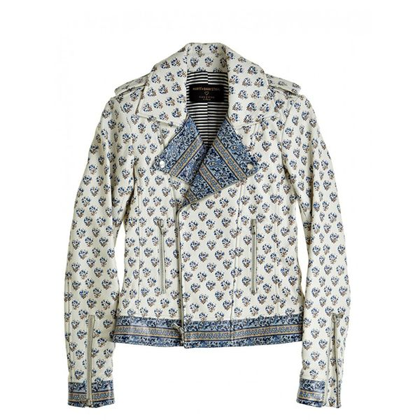 Calypso St. Barth Block Printed Leather Moto Jacket