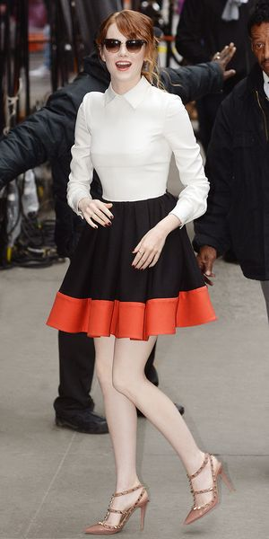 Emma Stone Does Good Morning America In A Sweetly Feminine Dress