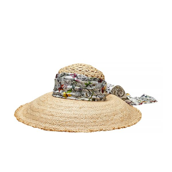 Gucci Straw Wide Brimmed Hat with Flora Silk Band