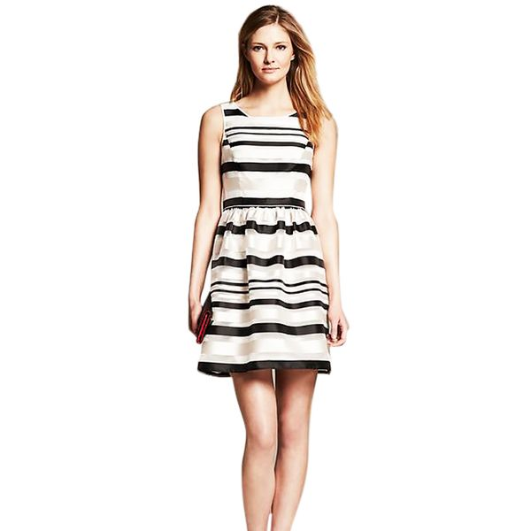 Banana Republic Monogram Striped Organza Fit-and-Flare Dress