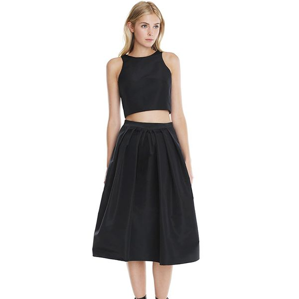 Tibi Silk Faille Cropped Top