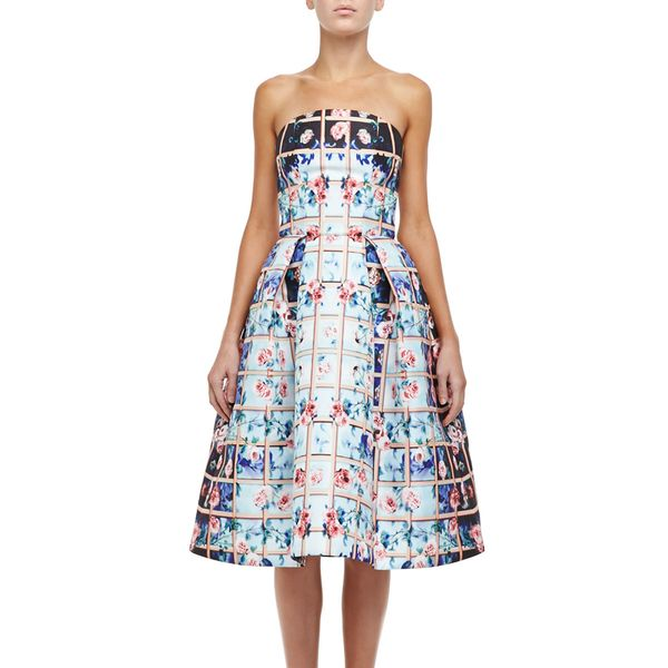 Mary Katrantzou Floral Grid Nevis Strapless Dress
