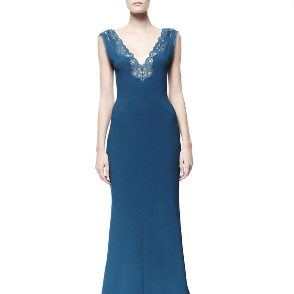 Stella McCartney Betta Lace-Trim Open-Back Gown