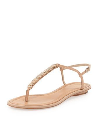 B Brian Atwood Callas Leather T-Strap Sandals