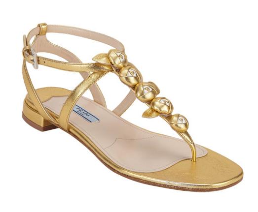 Prada Rosette T-Strap Flat Sandals
