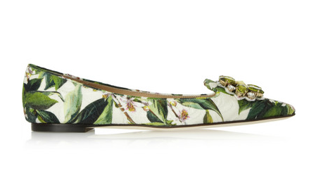 Dolce & Gabbana Embellished Floral-Brocade Point-Toe Flats