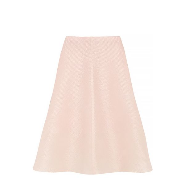 Vika Gazinskaya Flared Pintucked Silk and Cotton-Blend Skirt