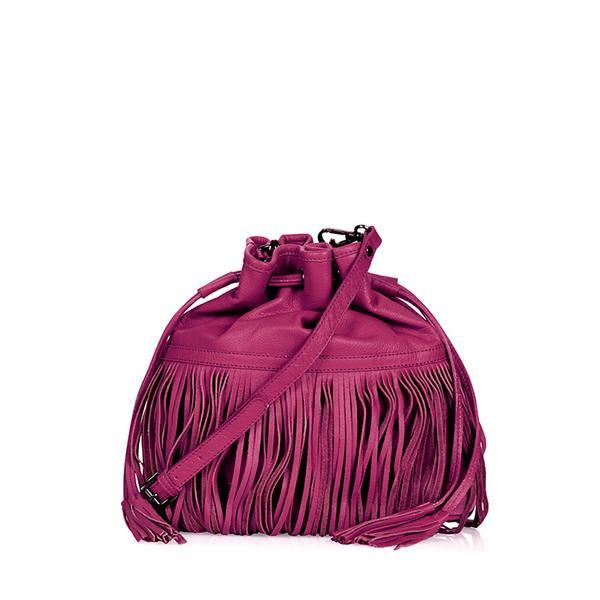 Topshop Leather Mix Fringe Duffle Bag