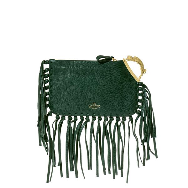 Valentino Gryphon-Handle Fringed Leather Clutch