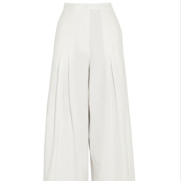 Vionnet Silk-Piqué Trousers