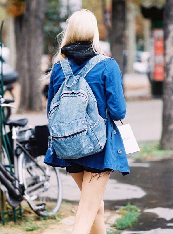 Style Tip: Transform your denim-on-denim look by incorporating a backpack into the mix.