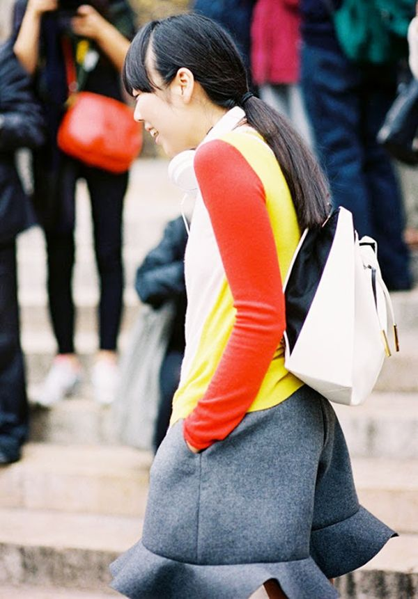 Style Tip: If you're sporting a color-intense ensemble, tame it with a structured, white backpack.