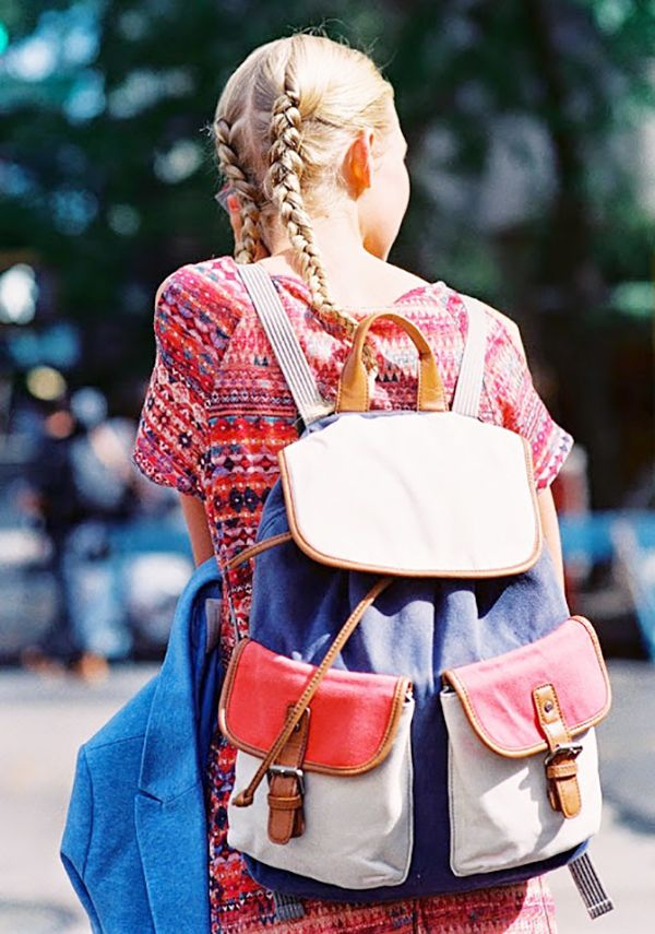 Style Tip: Pigtails with a backpack: Don't overthink it.