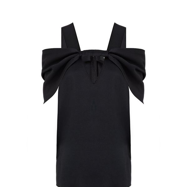 Derek Lam Black Satin Twist Front Top