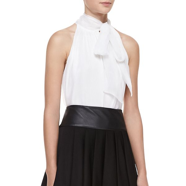 Alice + Olivia Aleena Ascot Silk Top