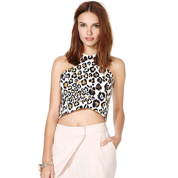 Line and Dot Cyber Leopard Crop Top
