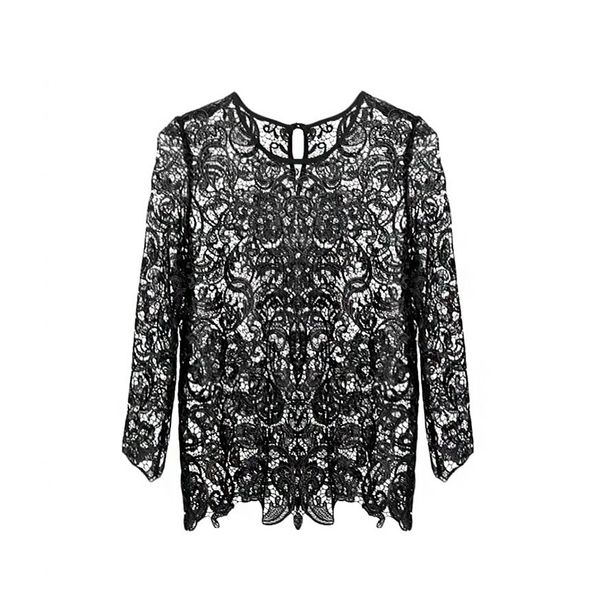 Pixie Market Black Ellie Floral Lace Top