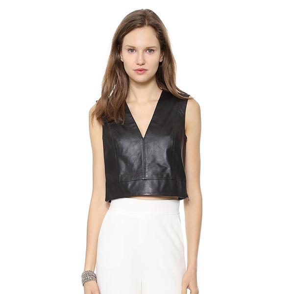 Rachel Zoe Ashtyn Cropped Leather Top