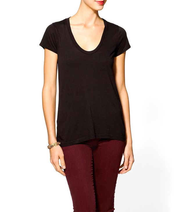 Splendid Very Light Jersey Scoop Neck Tee ($48) in Black