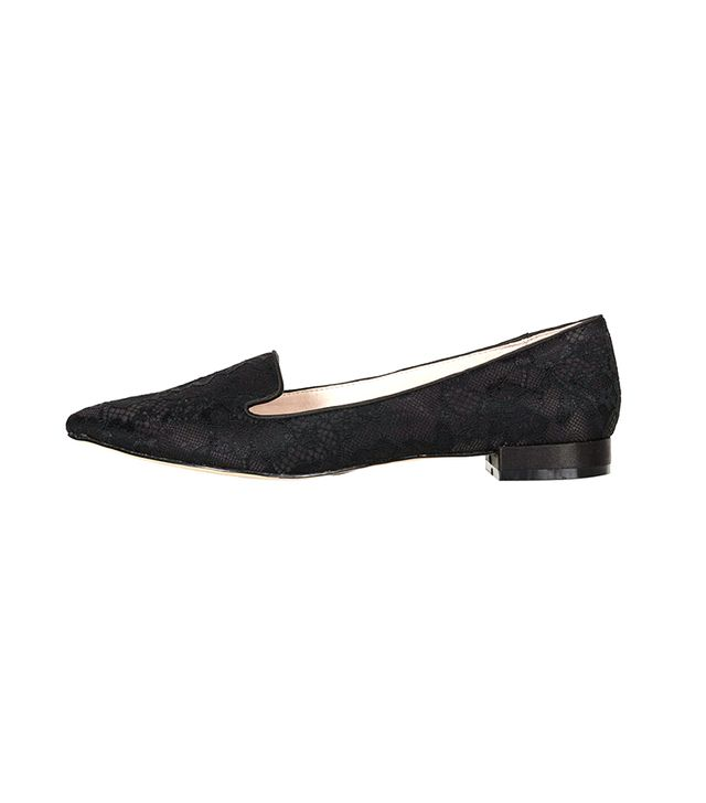 Topshop Sisto Lace Slippers ($45) in Black