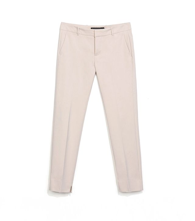 Zara Trousers With Slit At The Hem ($69) in Stone