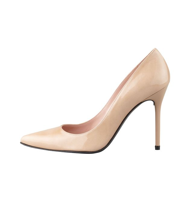 Stuart Weitzman Nouveau Patent Point-Toe Pumps ($340) in Adobe