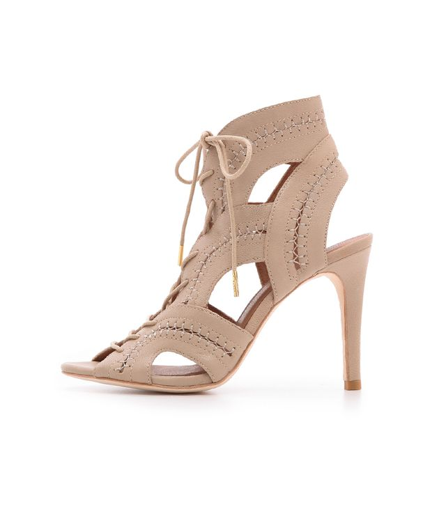 Joie Remy Lace Up Booties ($325) in Dusty Pink Sand