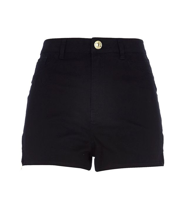 River Island Black High Waisted Stretch Shorts ($50)