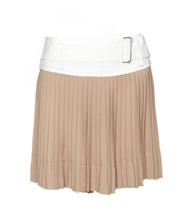 A.L.C. Contrast Belted Pleated Mini Skirt ($498) in Blush/Nude