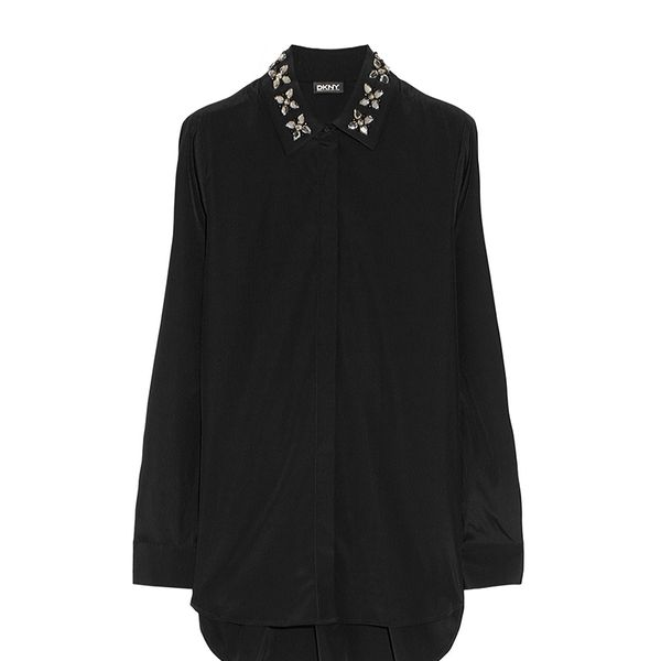 DKNY Embellished-Collar Silk-Blend Blouse