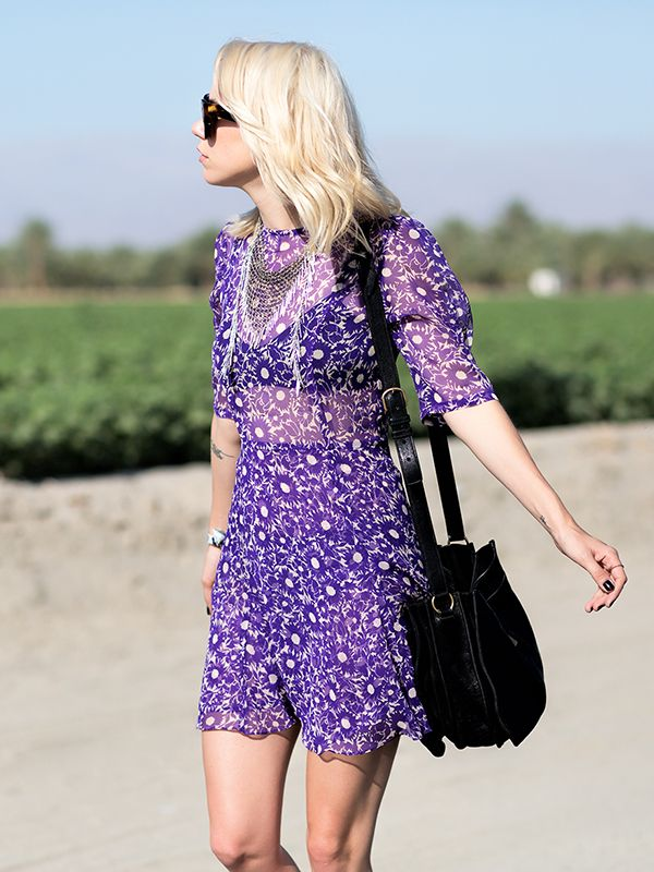 For a less intimidating way to wear a statement color, like purple, pick a dress with a dainty print.