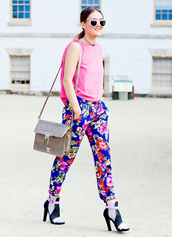 Fashion math: floral pants + vibrant tank + killer sunglasses = a great look