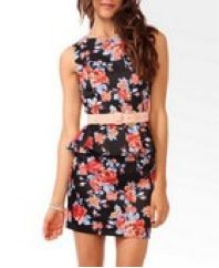 Forever 21 Forever 21 Floral Print Peplum Sheath Dress