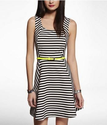 Express Express Striped Ponte Knit Fit and Flare Dress