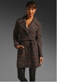 Jack by BB Dakota  Annie Ombre Stripe Brushed Poly Blend Coat